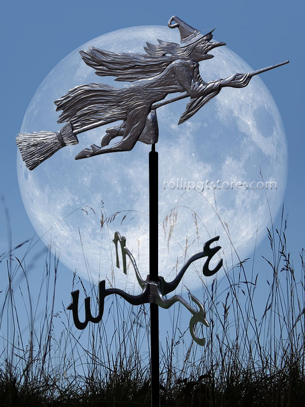 Weathervanes >> Flying Witch Garden Weathervane Halloween Yard Decoration