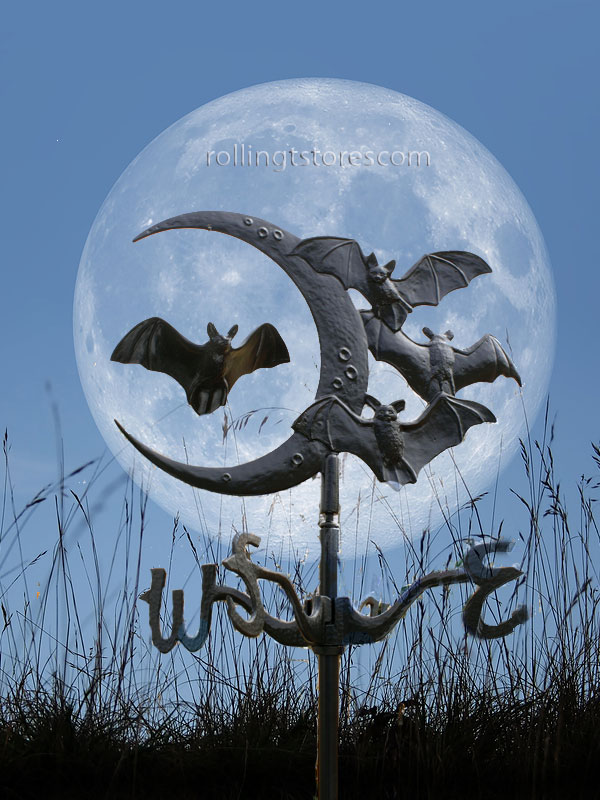 Moon & Bats Garden Weathervane