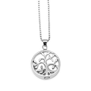 Pet Memorial Jewelry Tree of Life Pendant Open with Cremation Urn and Funnel