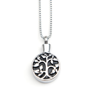 Pet Memorial Jewelry Tree of Life Pendant with Cremation Urn and Funnel